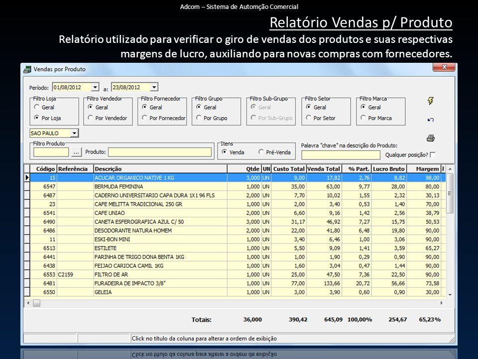 Relatório Vendas p/ Produto Relatório utilizado para verificar o giro de vendas dos produtos e suas respectivas margens de lucro, auxiliando para novas compras com fornecedores.