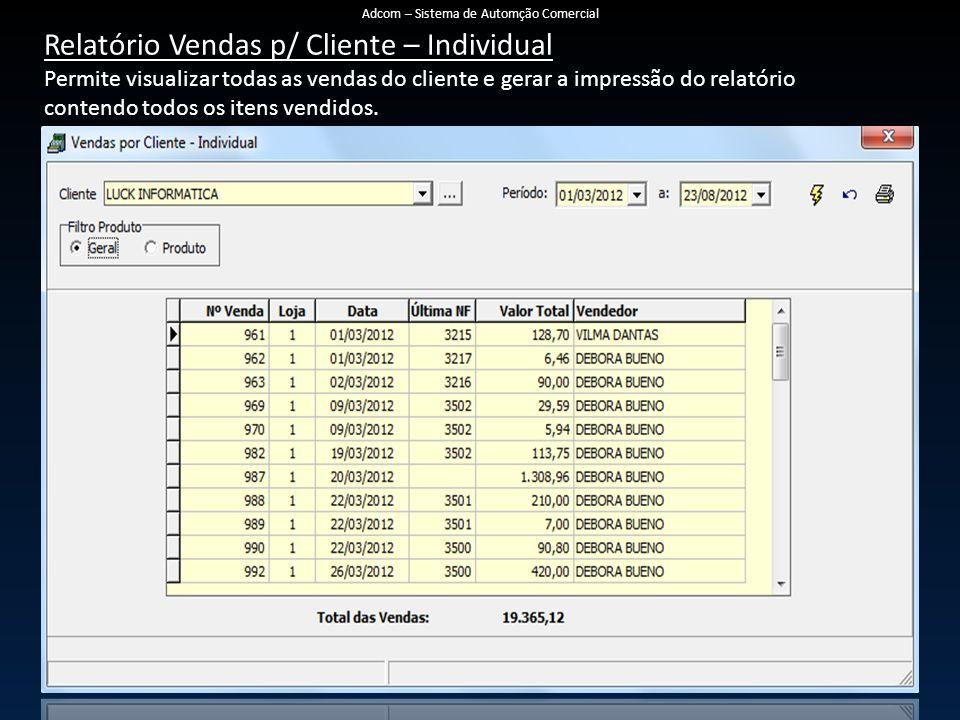 Relatório Vendas p/ Cliente – Individual Permite visualizar todas as vendas do cliente e gerar a impressão do relatório contendo todos os itens vendidos.
