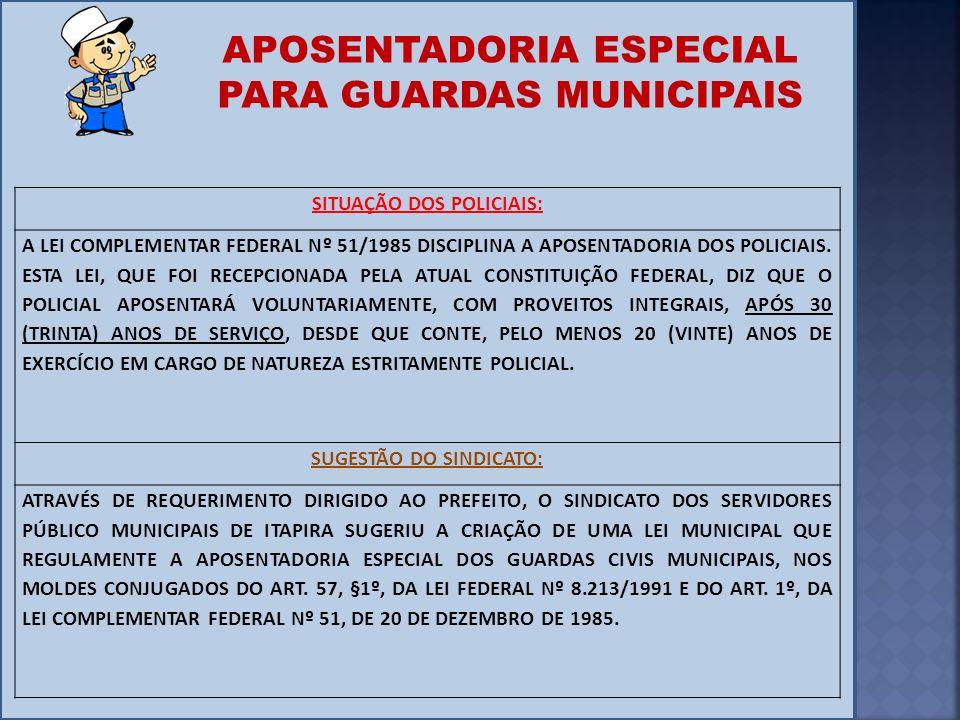 SITUAÇÃO DOS POLICIAIS: A LEI COMPLEMENTAR FEDERAL Nº 51/1985 DISCIPLINA A APOSENTADORIA DOS POLICIAIS. ESTA LEI, QUE FOI RECEPCIONADA PELA ATUAL CONS