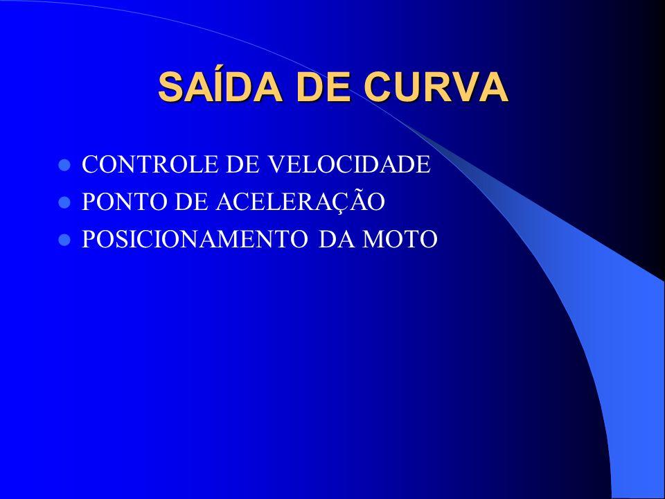 SAÍDA DE CURVA CONTROLE DE VELOCIDADE PONTO DE ACELERAÇÃO POSICIONAMENTO DA MOTO