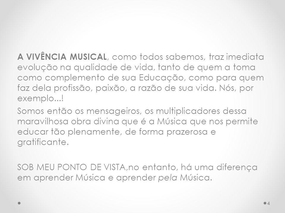 MEU TRABALHO SE DIRIGE a quem educa pela Música e acredito ser essa também a função da Música nas Escolas Regulares.