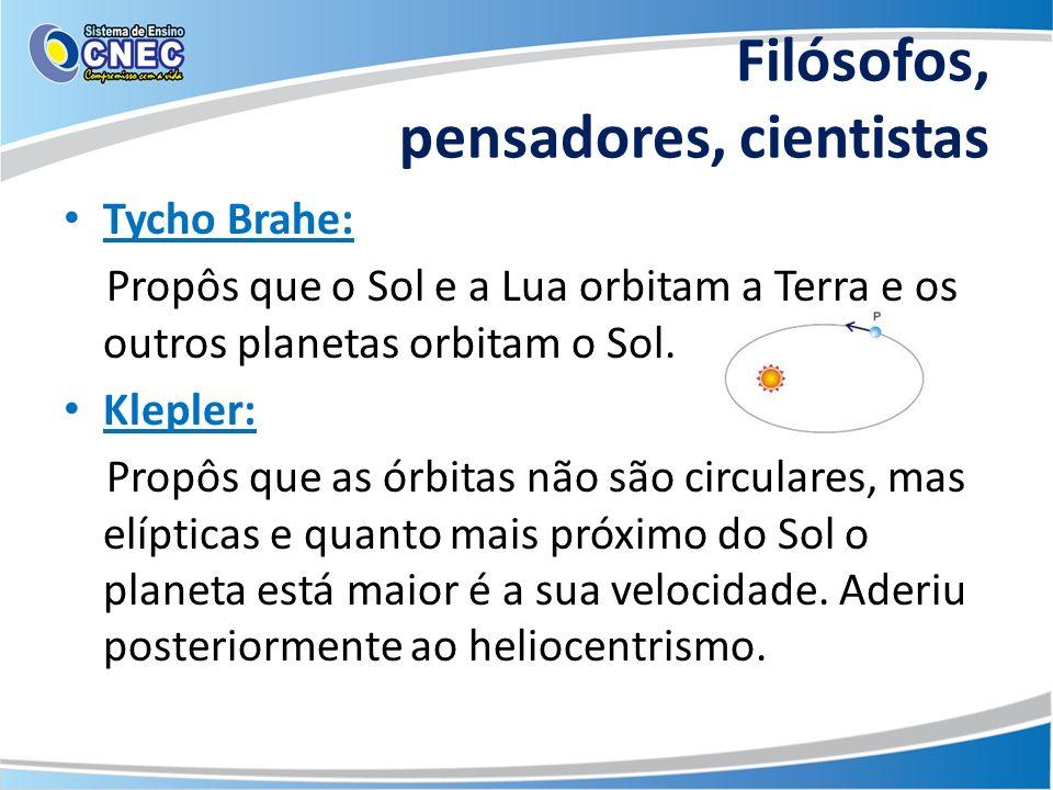 Filósofos, pensadores, cientistas Tycho Brahe: Propôs que o Sol e a Lua orbitam a Terra e os outros planetas orbitam o Sol. Klepler: Propôs que as órb
