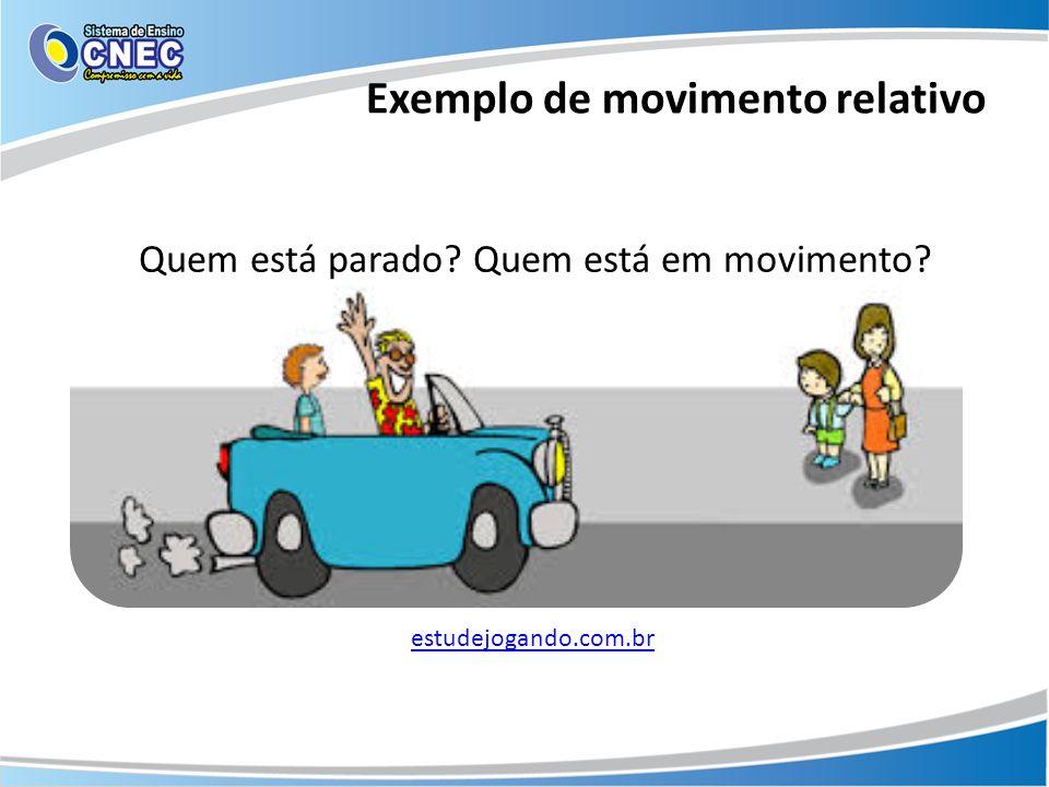Exemplo de movimento relativo Quem está parado? Quem está em movimento? estudejogando.com.br