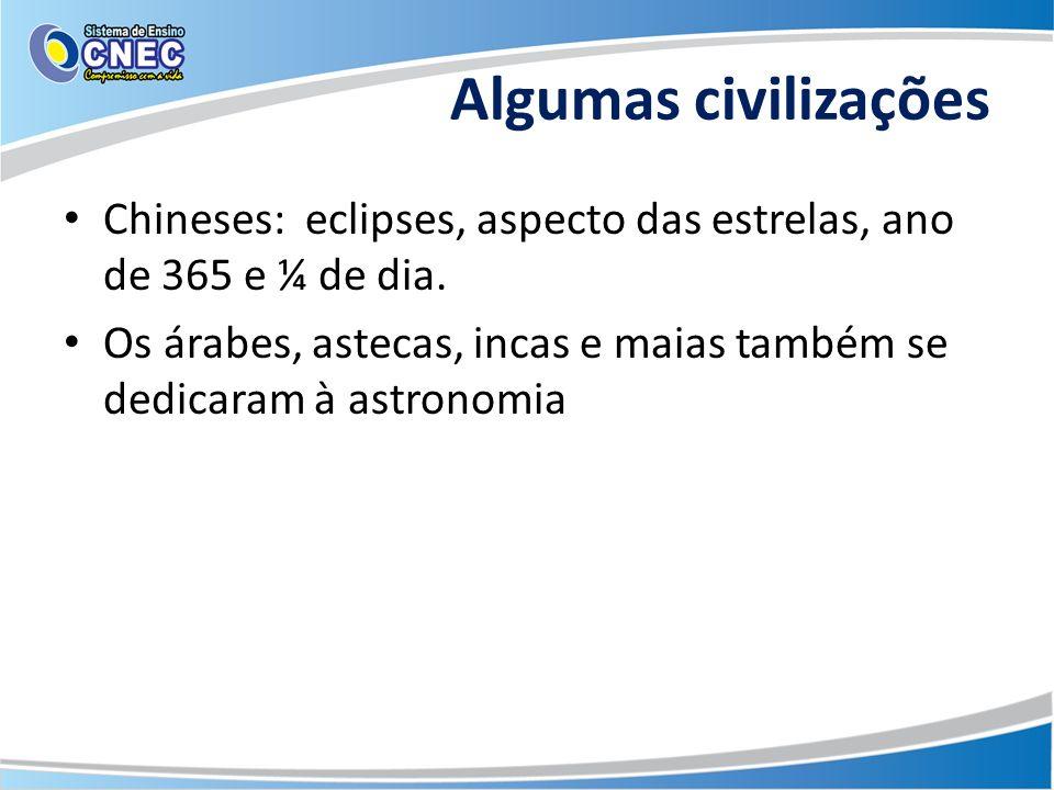 Algumas civilizações Chineses: eclipses, aspecto das estrelas, ano de 365 e ¼ de dia. Os árabes, astecas, incas e maias também se dedicaram à astronom