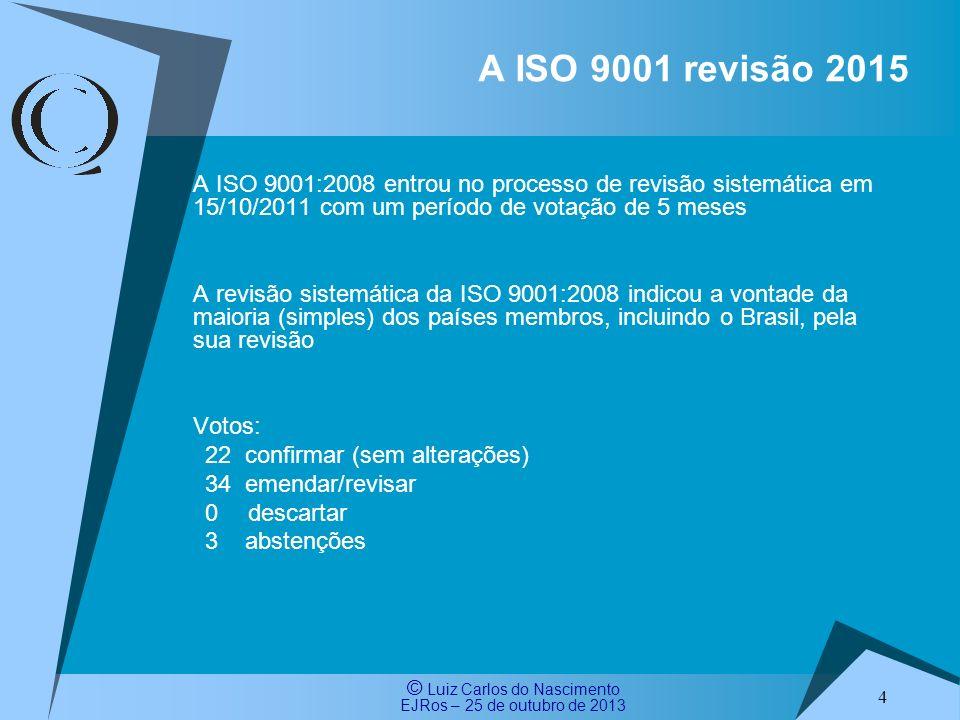 © Luiz Carlos do Nascimento EJRos – 25 de outubro de 2013 1 Escopo 4 Contexto da Organização 5 Liderança 6 Planejamento 7 Suporte 8 Operação 9 Avaliação do desempenho 10 Melhoria Texto comumTexto específico Uma análise superficial, baseada apenas na quantidade de texto, revela que o texto comum representa algo em torno de 1/3 do texto do ISO / CD 9001:2015 A estrutura do ISO CD 9001:2015