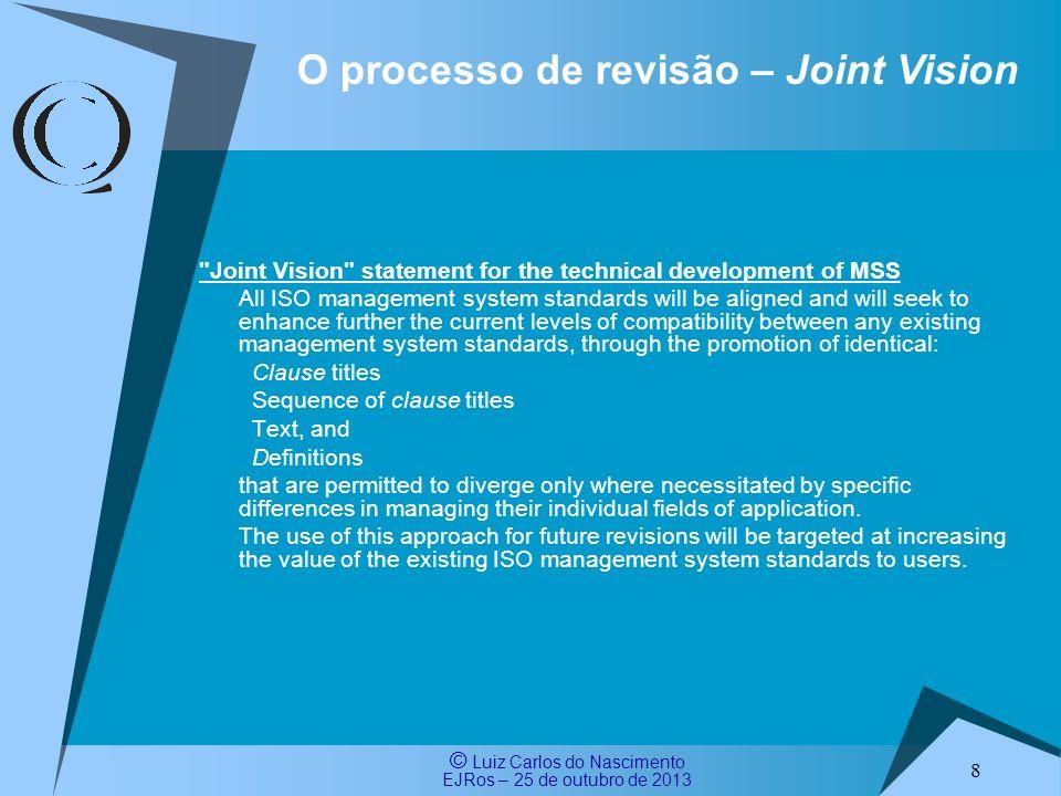 © Luiz Carlos do Nascimento EJRos – 25 de outubro de 2013 9 O processo de revisão – Anexo SL Resolução ISO/TMB 18/2012 (15 e 16 de fevereiro de 2012) - estabeleceu o anexo SL para as Normas de Sistemas de Gestão da ISO (MSS) O Anexo SL, Apêndice 2 das Diretivas ISO estabelece: – Estrutura comum de Alto Nível (HLS) – Texto comum para as normas de sistemas de gestão (MSS) – Principais termos e definições comuns de Sistemas de Gestão Qualquer futura norma de gestão (nova ou revisada) deve, em princípio, seguir a estrutura e as diretrizes incluídas no Anexo SL, Apêndice 2, permitindo-se desvios sob a condição de que sejam relatados ao TMB, com justificativas detalhadas O Anexo SL (ex-ISO Guia 83) foi votado e aprovado, com comentários, por 68% dos países membros da ISO, inclusive pelo Brasil