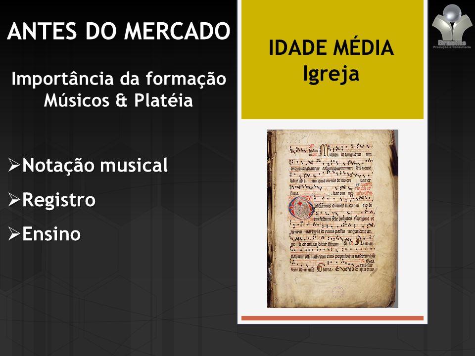 ANTES DO MERCADO Importância da formação Músicos & Platéia IDADE MÉDIA Igreja Notação musical Notação musical Registro Registro Ensino Ensino