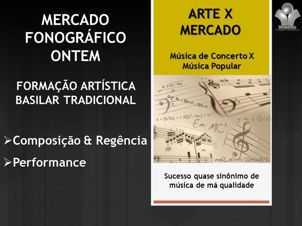 MERCADO FONOGRÁFICO ONTEM FORMAÇÃO ARTÍSTICA BASILAR TRADICIONAL Composição & Regência Composição & Regência Performance Performance ARTE X MERCADO Sucesso quase sinônimo de música de má qualidade Música de Concerto X Música Popular