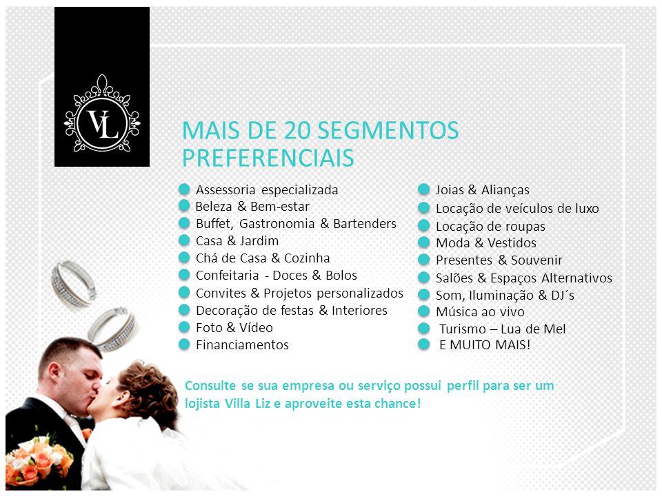 MAIS DE 20 SEGMENTOS PREFERENCIAIS Assessoria especializada Consulte se sua empresa ou serviço possui perfil para ser um lojista Villa Liz e aproveite esta chance.