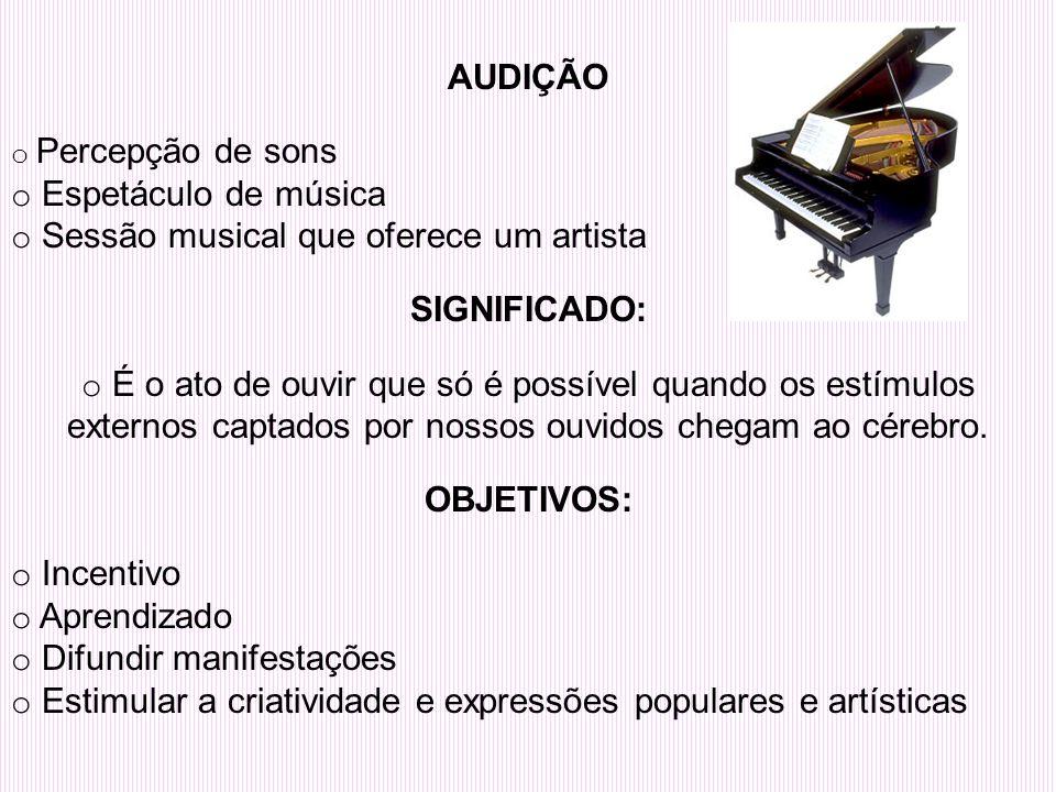 AUDIÇÃO o Percepção de sons o Espetáculo de música o Sessão musical que oferece um artista SIGNIFICADO: o É o ato de ouvir que só é possível quando os estímulos externos captados por nossos ouvidos chegam ao cérebro.