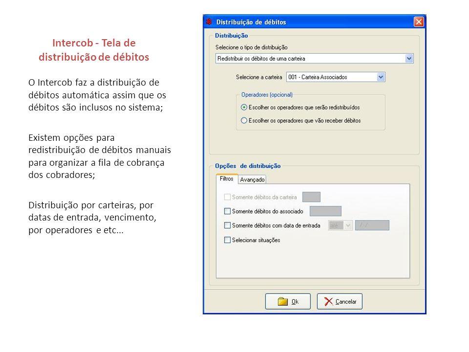 Intercob - Tela de distribuição de débitos O Intercob faz a distribuição de débitos automática assim que os débitos são inclusos no sistema; Existem o