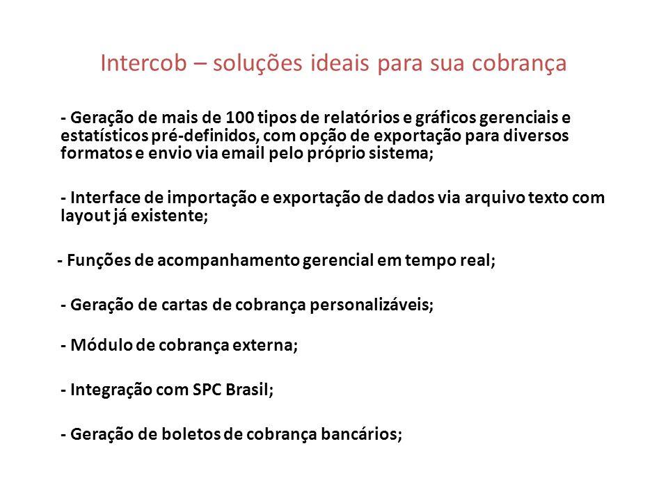 Intercob - Tela de distribuição de débitos O Intercob faz a distribuição de débitos automática assim que os débitos são inclusos no sistema; Existem opções para redistribuição de débitos manuais para organizar a fila de cobrança dos cobradores; Distribuição por carteiras, por datas de entrada, vencimento, por operadores e etc...