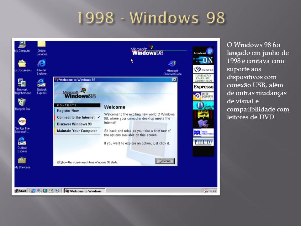 O Windows 98 foi lançado em junho de 1998 e contava com suporte aos dispositivos com conexão USB, além de outras mudanças de visual e compatibilidade