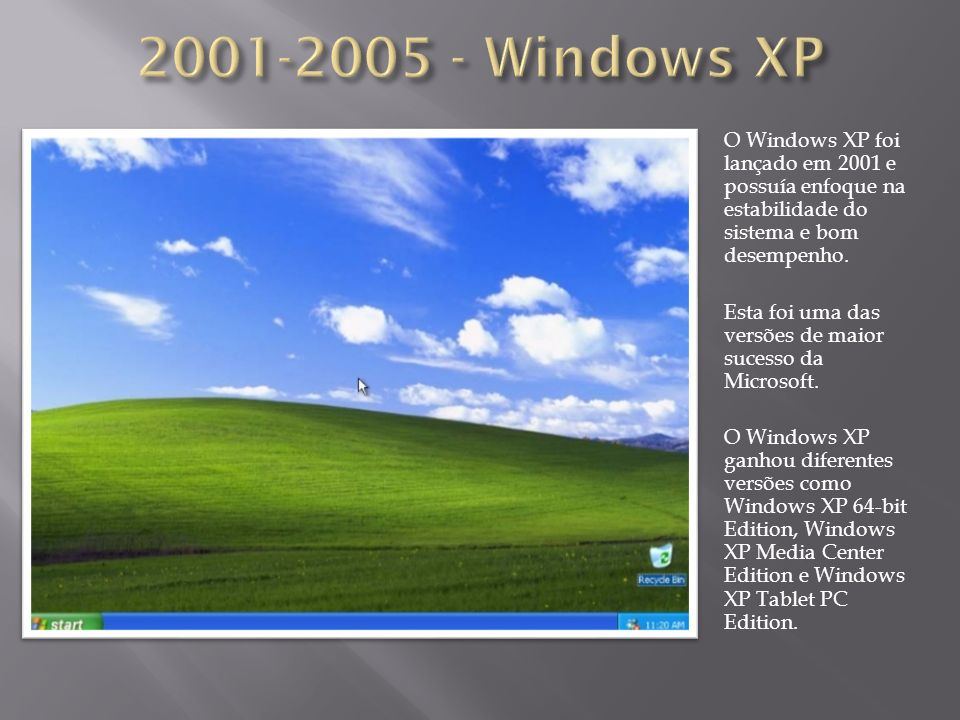 O Windows XP foi lançado em 2001 e possuía enfoque na estabilidade do sistema e bom desempenho. Esta foi uma das versões de maior sucesso da Microsoft