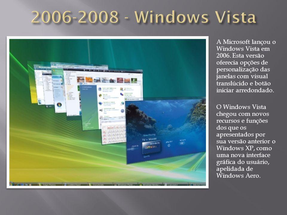 A Microsoft lançou o Windows Vista em 2006. Esta versão oferecia opções de personalização das janelas com visual translúcido e botão iniciar arredonda