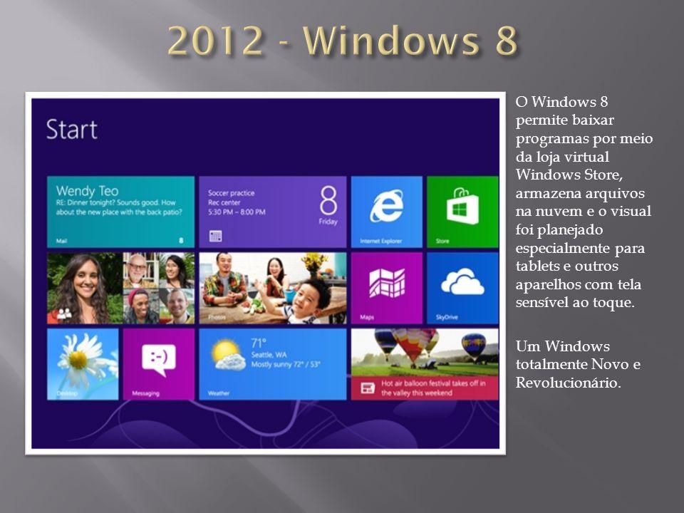 O Windows 8 permite baixar programas por meio da loja virtual Windows Store, armazena arquivos na nuvem e o visual foi planejado especialmente para ta