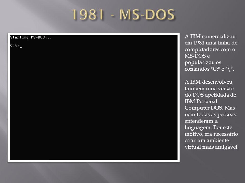 A IBM comercializou em 1981 uma linha de computadores com o MS-DOS e popularizou os comandos
