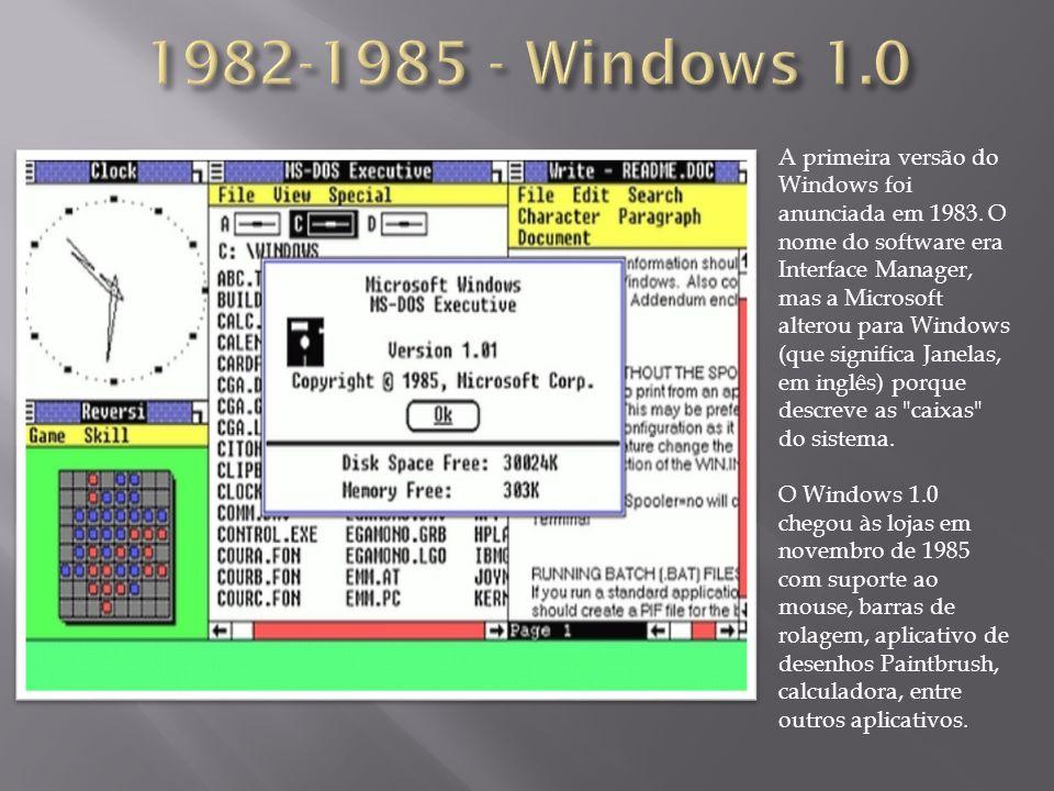 A primeira versão do Windows foi anunciada em 1983.