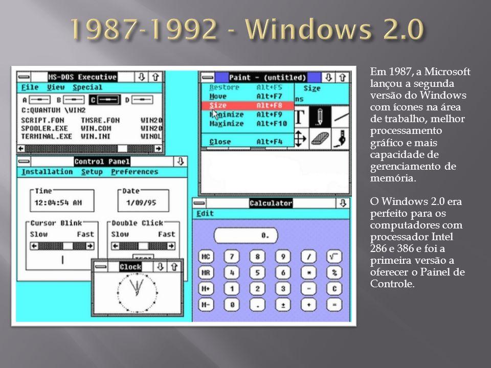 Em 1987, a Microsoft lançou a segunda versão do Windows com ícones na área de trabalho, melhor processamento gráfico e mais capacidade de gerenciament