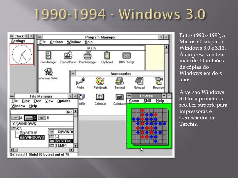 Entre 1990 e 1992, a Microsoft lançou o Windows 3.0 e 3.11. A empresa vendeu mais de 10 milhões de cópias do Windows em dois anos. A versão Windows 3.