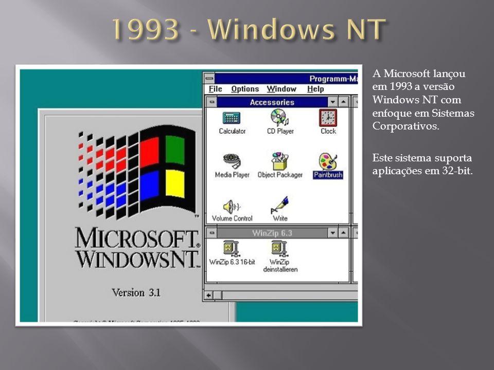 A Microsoft lançou em 1993 a versão Windows NT com enfoque em Sistemas Corporativos. Este sistema suporta aplicações em 32-bit.