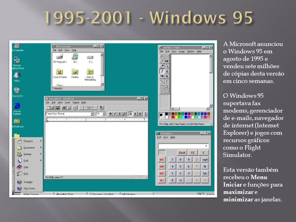 A Microsoft anunciou o Windows 95 em agosto de 1995 e vendeu sete milhões de cópias desta versão em cinco semanas. O Windows 95 suportava fax modems,