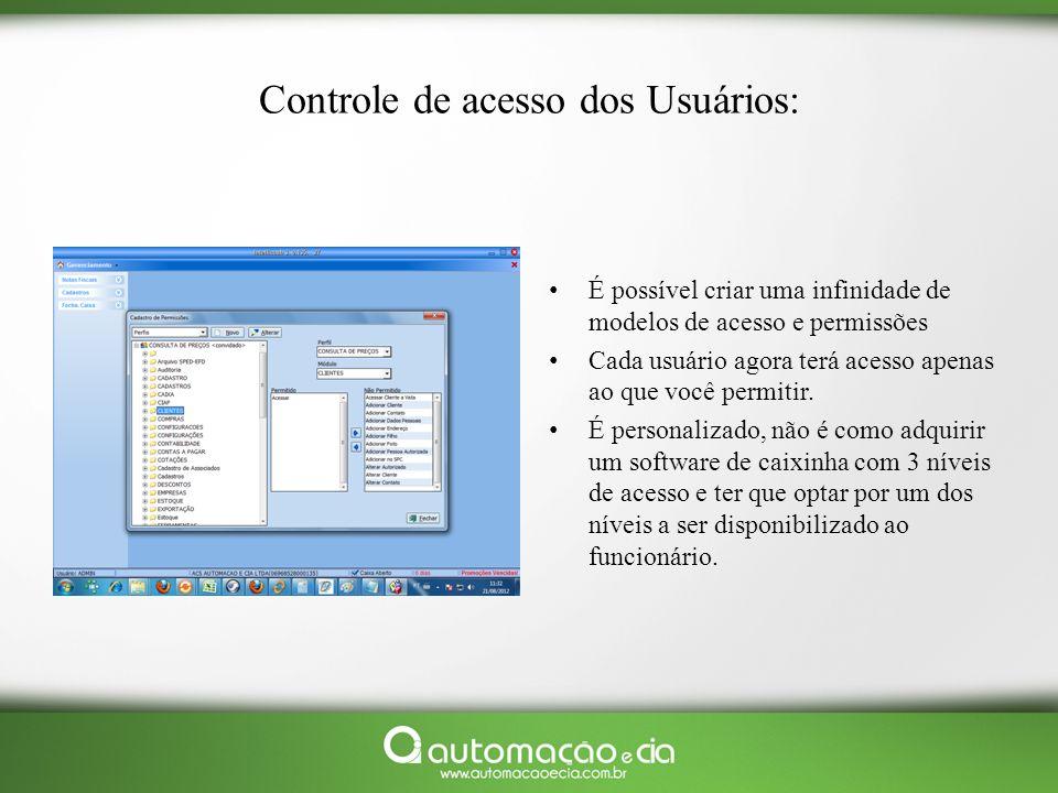 Controle de acesso dos Usuários: É possível criar uma infinidade de modelos de acesso e permissões Cada usuário agora terá acesso apenas ao que você p