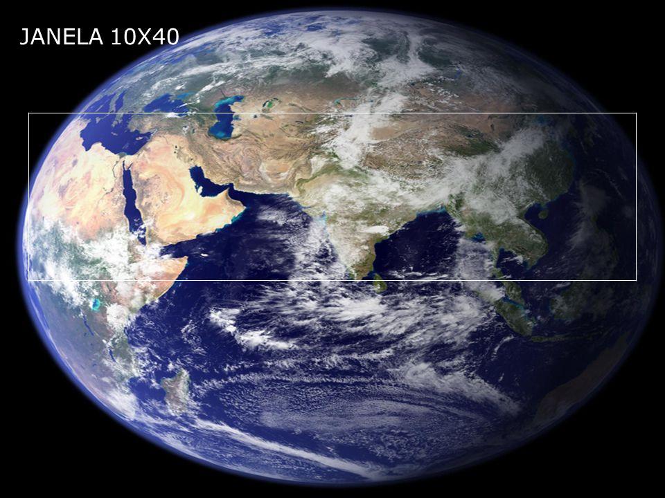 A área que compreende a janela 10X40 em km² chega aproximadamente 35.595.000 km² (trinta e cinco milhões, quinhentos e noventa e cinco mil quilômetros quadrados contando com partes dos oceanos, essa área equivale ao primeiro país maior do mundo a Rússia 17.075.400 km², ao segundo o Canadá 9.984.670 km², ao quinto o Brasil 8.547.406 km² e a Israel 20.770 km² todos juntos.
