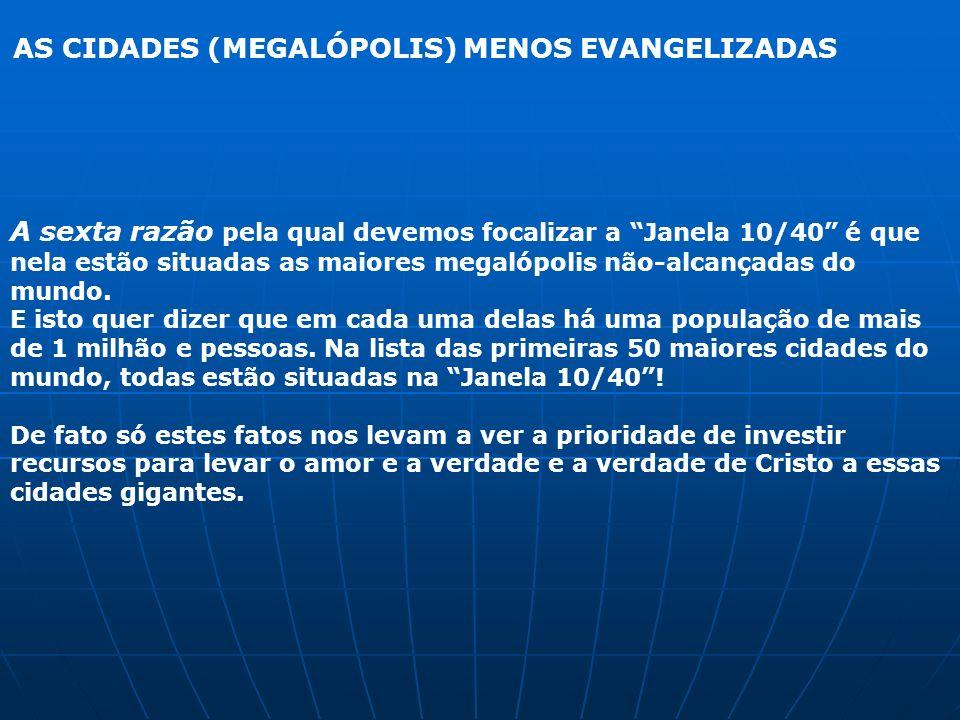 AS CIDADES (MEGALÓPOLIS) MENOS EVANGELIZADAS A sexta razão pela qual devemos focalizar a Janela 10/40 é que nela estão situadas as maiores megalópolis