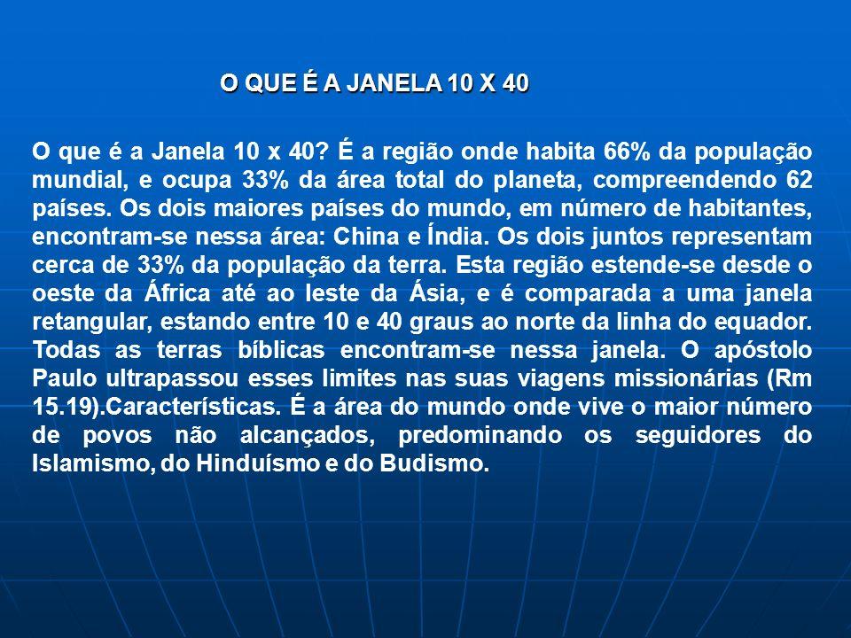 O que é a Janela 10 x 40? É a região onde habita 66% da população mundial, e ocupa 33% da área total do planeta, compreendendo 62 países. Os dois maio