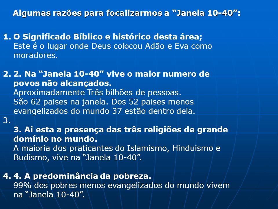 1.O Significado Bíblico e histórico desta área; Este é o lugar onde Deus colocou Adão e Eva como moradores. 2.2. Na Janela 10-40 vive o maior numero d