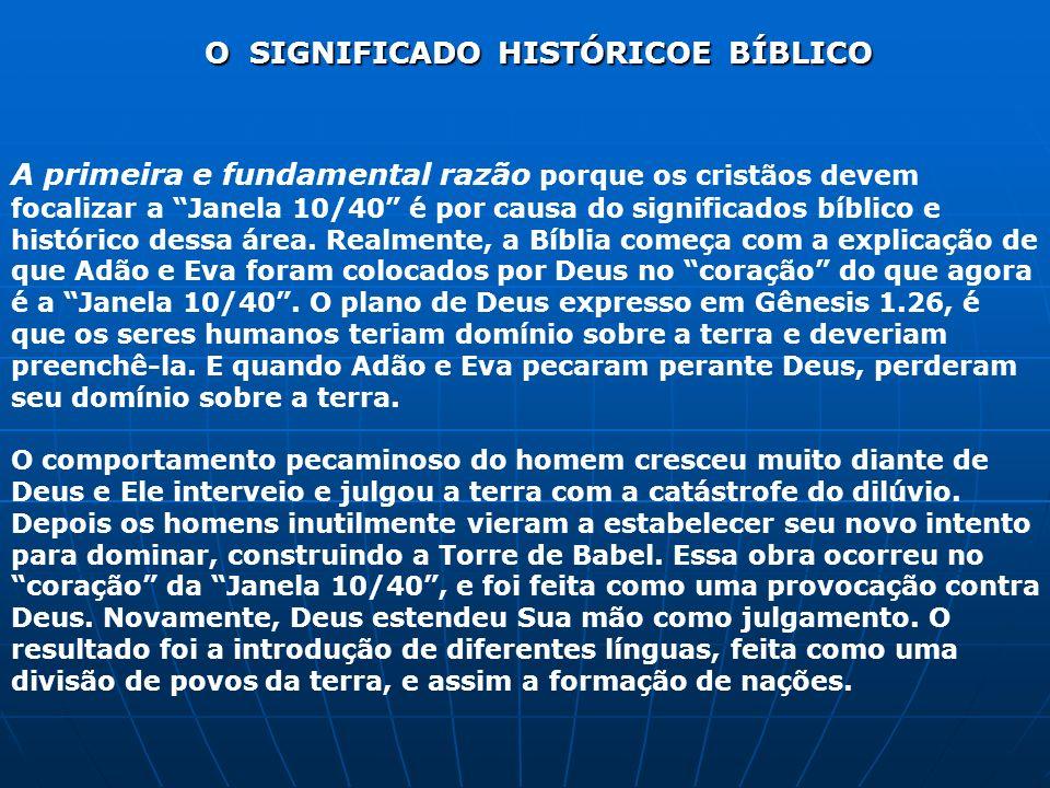 O SIGNIFICADO HISTÓRICOE BÍBLICO A primeira e fundamental razão porque os cristãos devem focalizar a Janela 10/40 é por causa do significados bíblico
