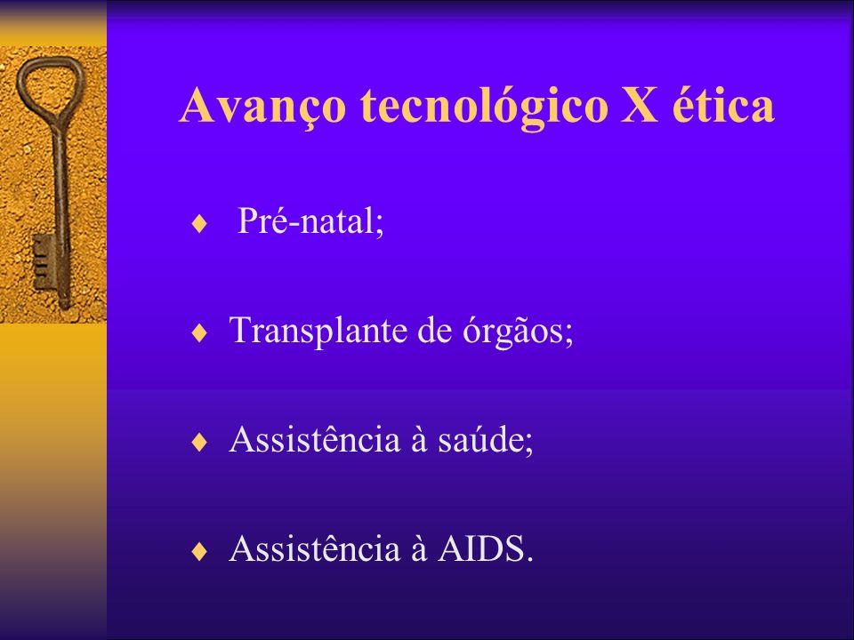 Avanço tecnológico X ética Pré-natal; Transplante de órgãos; Assistência à saúde; Assistência à AIDS.