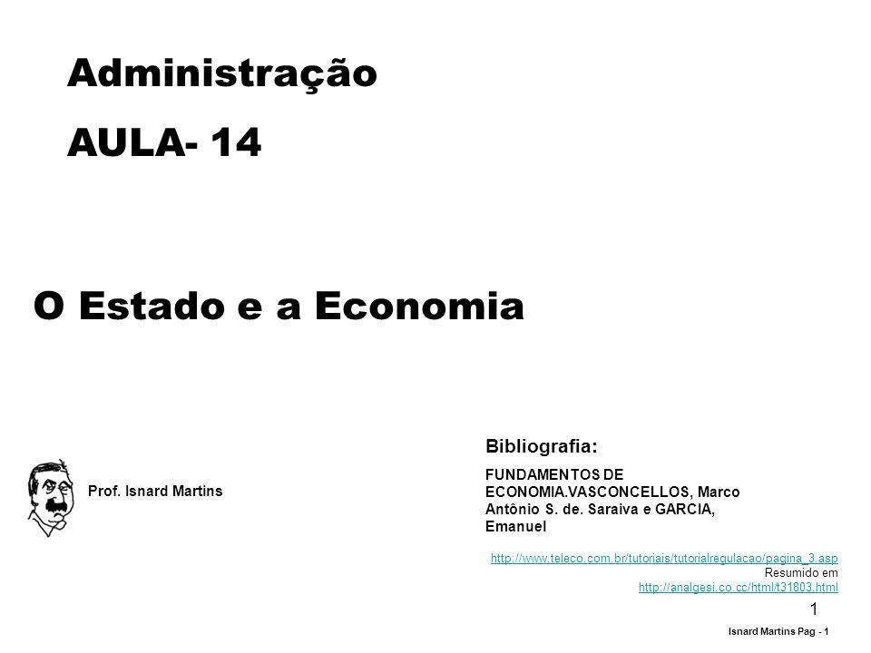 1 Administração AULA- 14 O Estado e a Economia Prof. Isnard Martins Bibliografia: FUNDAMENTOS DE ECONOMIA.VASCONCELLOS, Marco Antônio S. de. Saraiva e