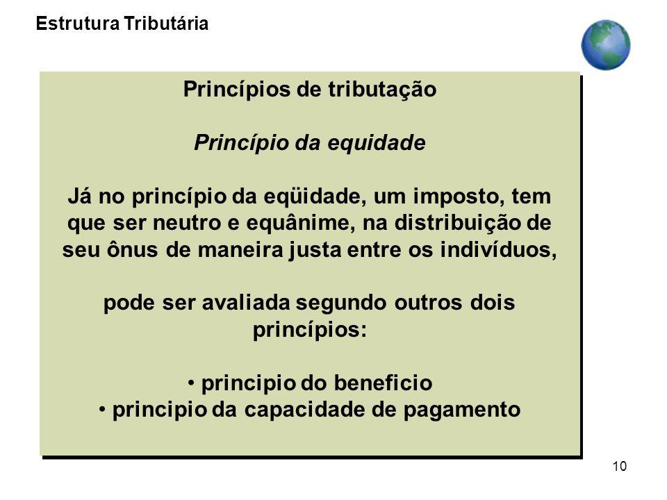 10 Princípios de tributação Princípio da equidade Já no princípio da eqüidade, um imposto, tem que ser neutro e equânime, na distribuição de seu ônus