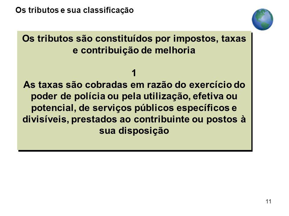 11 Os tributos são constituídos por impostos, taxas e contribuição de melhoria 1 As taxas são cobradas em razão do exercício do poder de polícia ou pe