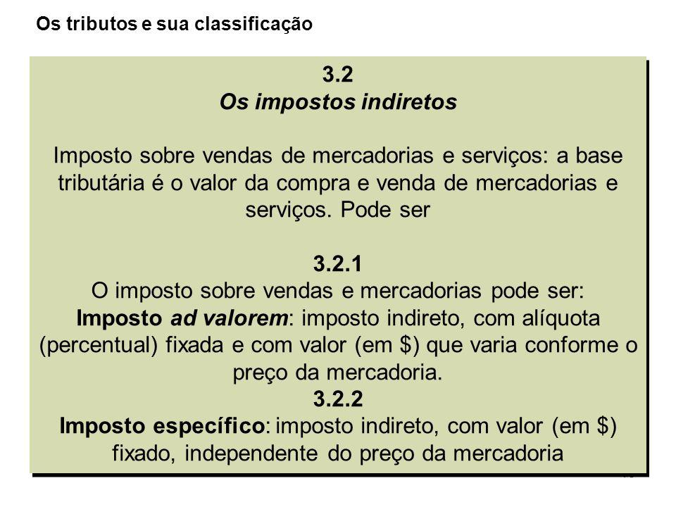 15 3.2 Os impostos indiretos Imposto sobre vendas de mercadorias e serviços: a base tributária é o valor da compra e venda de mercadorias e serviços.