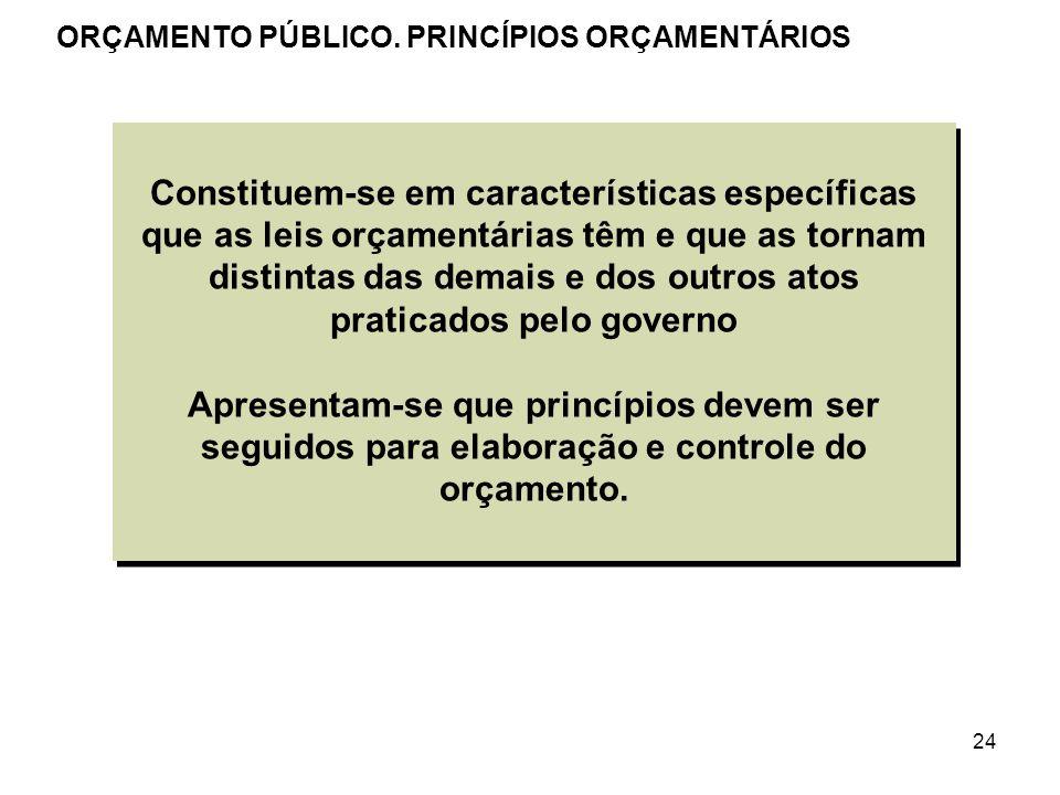 24 Constituem-se em características específicas que as leis orçamentárias têm e que as tornam distintas das demais e dos outros atos praticados pelo g