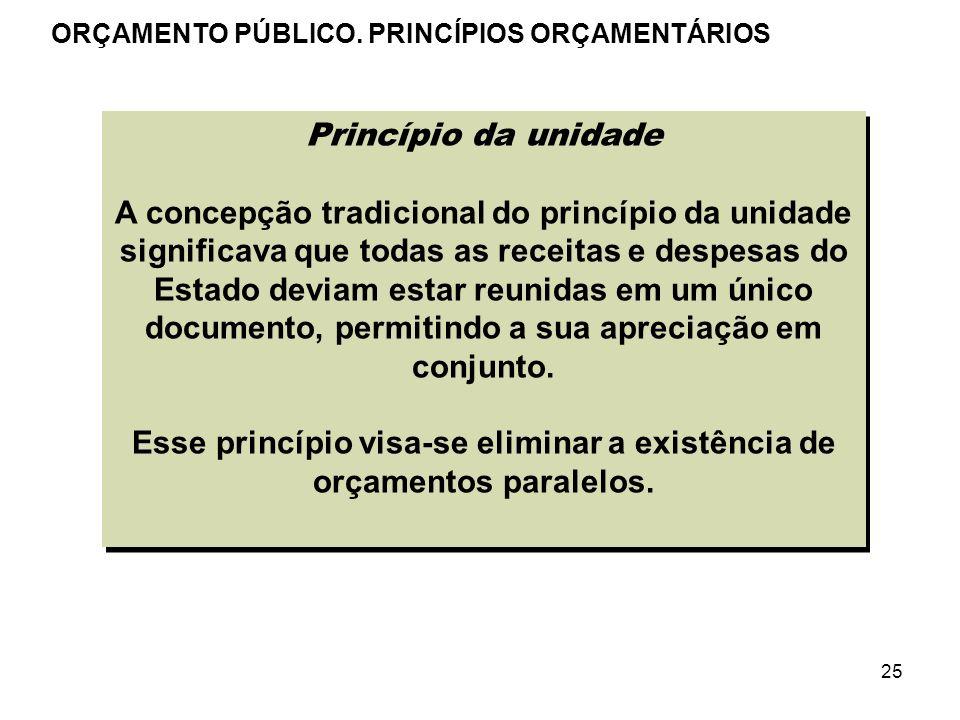 25 Princípio da unidade A concepção tradicional do princípio da unidade significava que todas as receitas e despesas do Estado deviam estar reunidas e