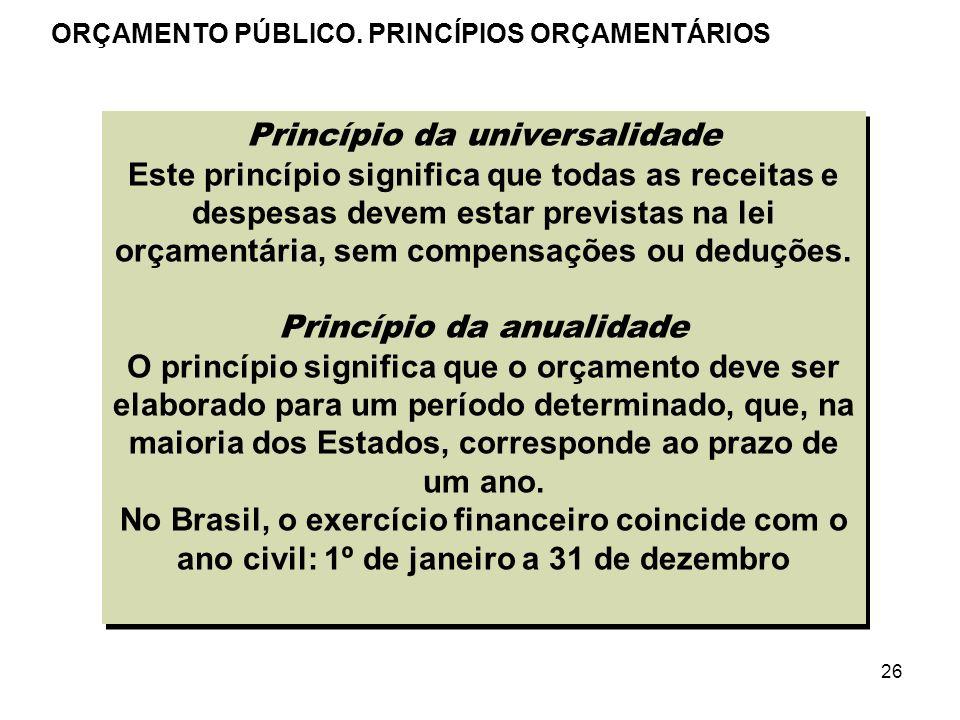 26 Princípio da universalidade Este princípio significa que todas as receitas e despesas devem estar previstas na lei orçamentária, sem compensações o