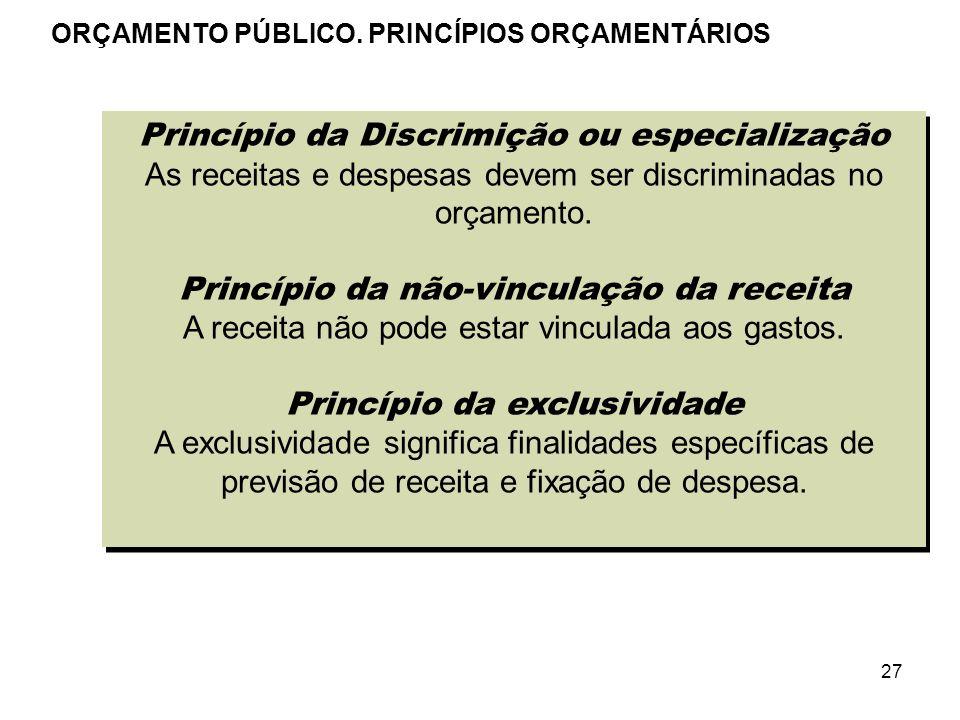 27 Princípio da Discrimição ou especialização As receitas e despesas devem ser discriminadas no orçamento. Princípio da não-vinculação da receita A re