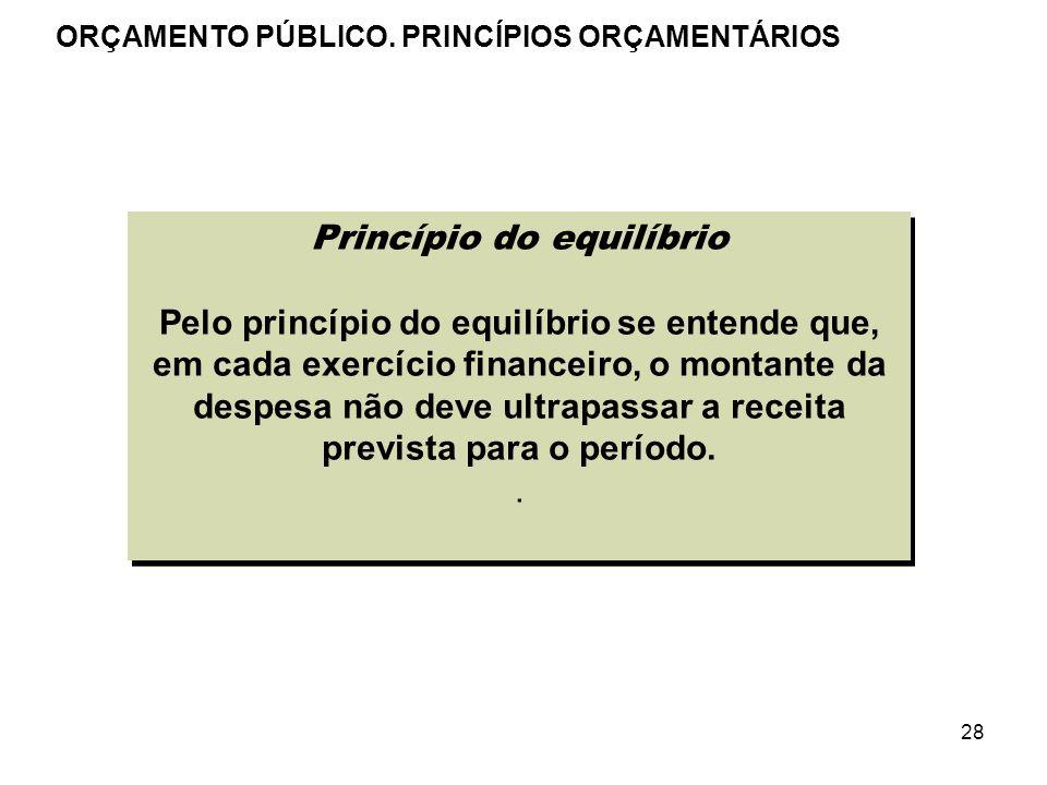 28 Princípio do equilíbrio Pelo princípio do equilíbrio se entende que, em cada exercício financeiro, o montante da despesa não deve ultrapassar a rec