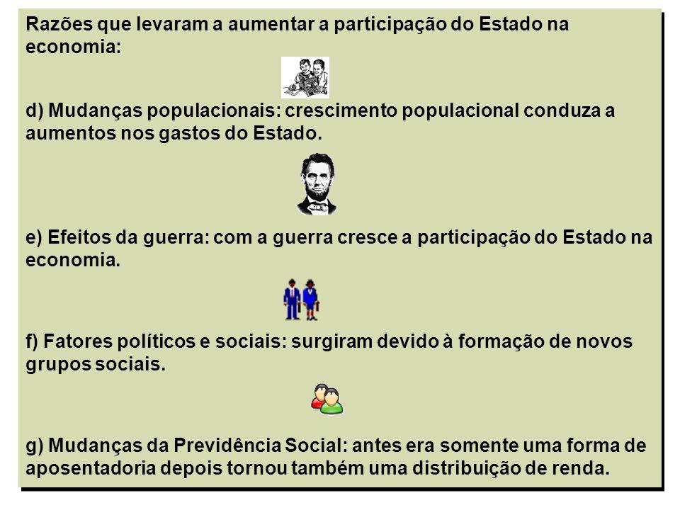 5 Razões que levaram a aumentar a participação do Estado na economia: d) Mudanças populacionais: crescimento populacional conduza a aumentos nos gasto