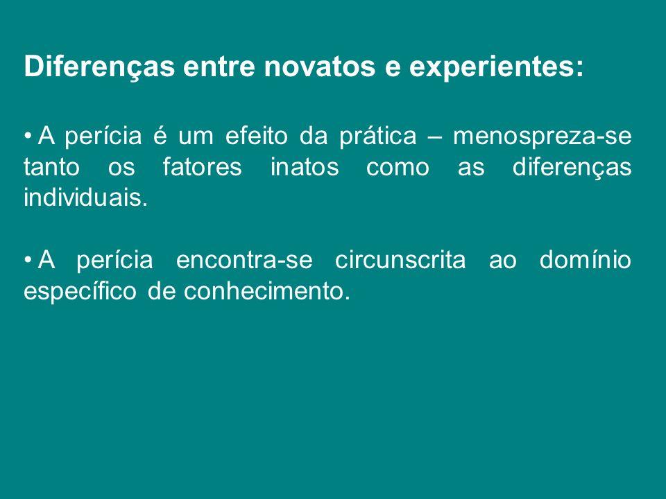 Diferenças entre novatos e experientes: A perícia é um efeito da prática – menospreza-se tanto os fatores inatos como as diferenças individuais. A per