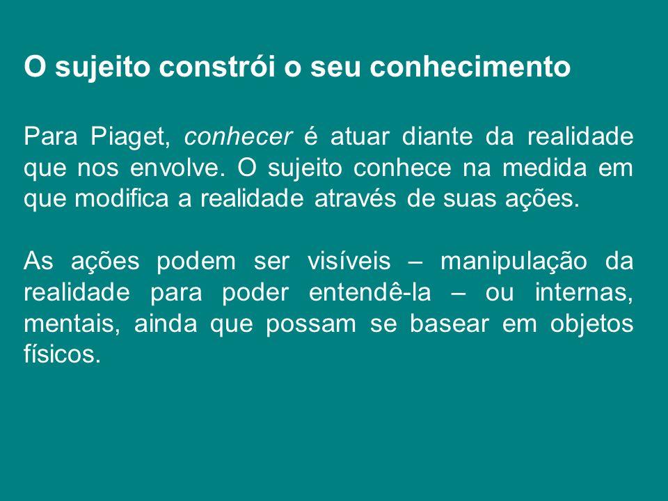 O sujeito constrói o seu conhecimento Para Piaget, conhecer é atuar diante da realidade que nos envolve. O sujeito conhece na medida em que modifica a