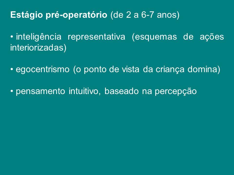 Estágio pré-operatório (de 2 a 6-7 anos) inteligência representativa (esquemas de ações interiorizadas) egocentrismo (o ponto de vista da criança domi