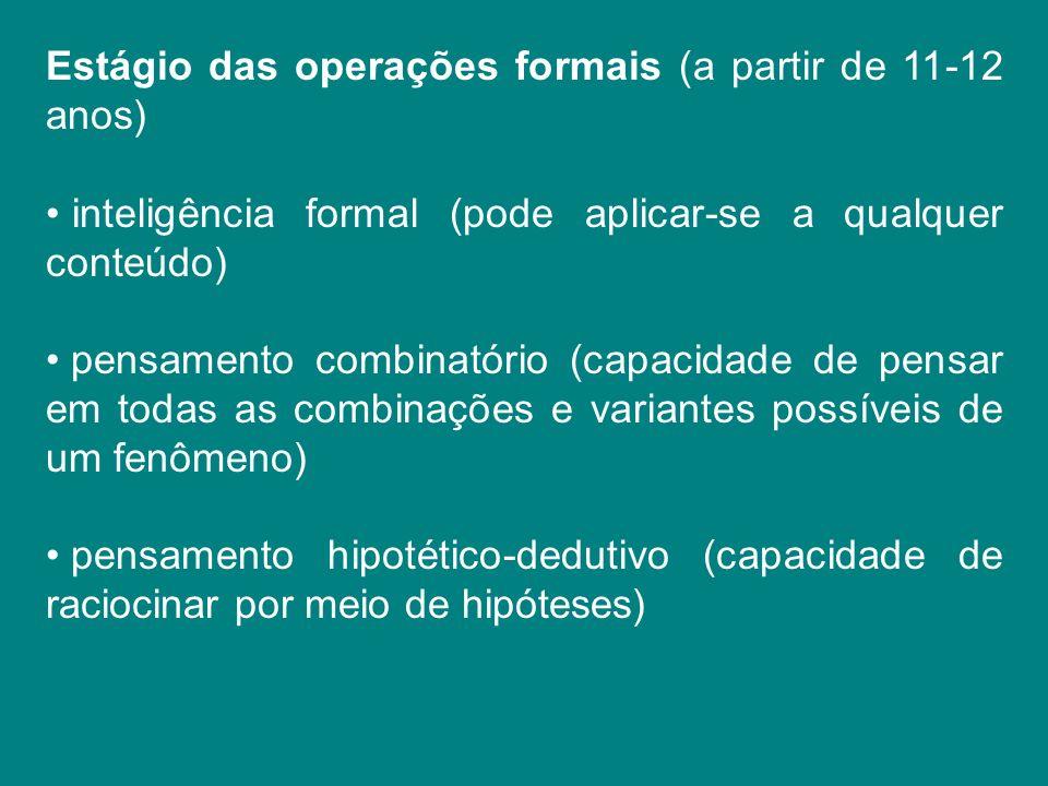 Estágio das operações formais (a partir de 11-12 anos) inteligência formal (pode aplicar-se a qualquer conteúdo) pensamento combinatório (capacidade d