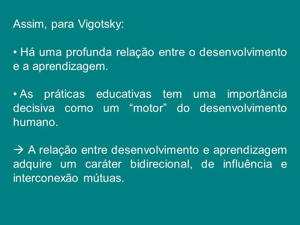 Assim, para Vigotsky: Há uma profunda relação entre o desenvolvimento e a aprendizagem. As práticas educativas tem uma importância decisiva como um mo
