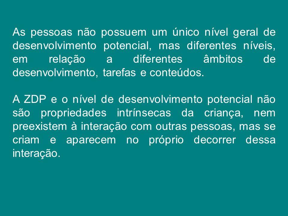 As pessoas não possuem um único nível geral de desenvolvimento potencial, mas diferentes níveis, em relação a diferentes âmbitos de desenvolvimento, t