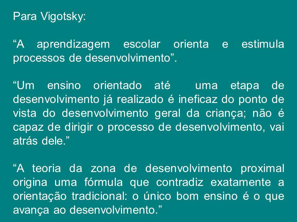 Para Vigotsky: A aprendizagem escolar orienta e estimula processos de desenvolvimento. Um ensino orientado até uma etapa de desenvolvimento já realiza